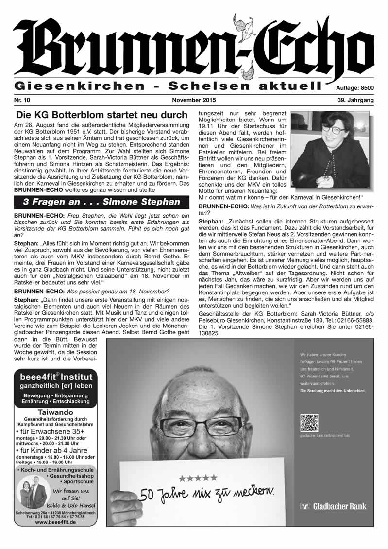 Brunnen-Echo Ausgabe 10 - November 2015